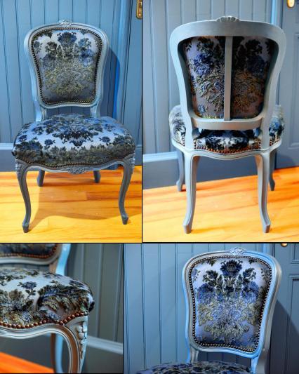 Chaise Louis 15 bleue