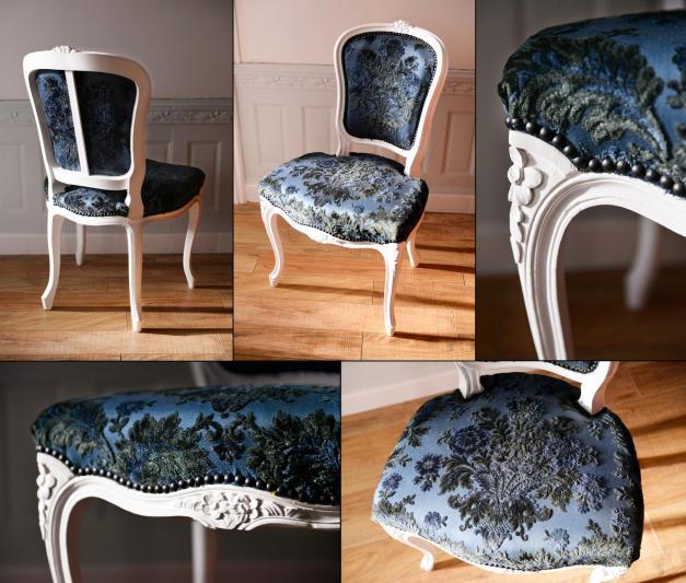Chaise Louis 15 blanche/bleue