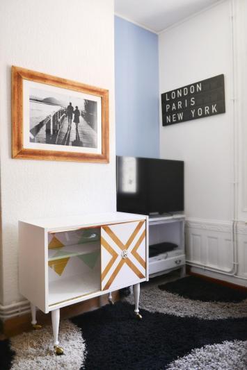 Déco, meuble tv blanc chevron