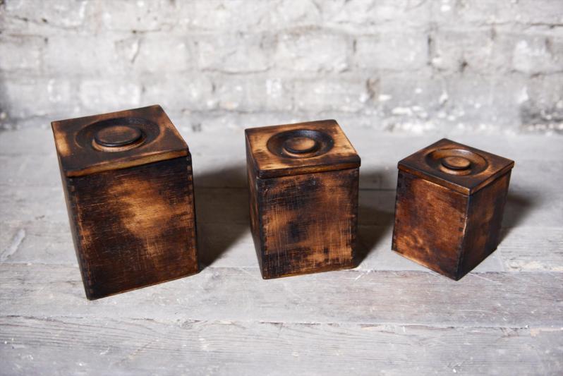 Boites bois style indu